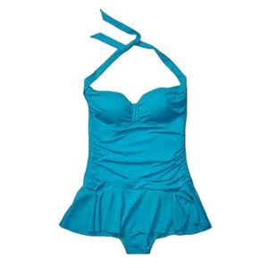 NWT Chaps Turquoise Rouched Skirt Halter Swimsuit
